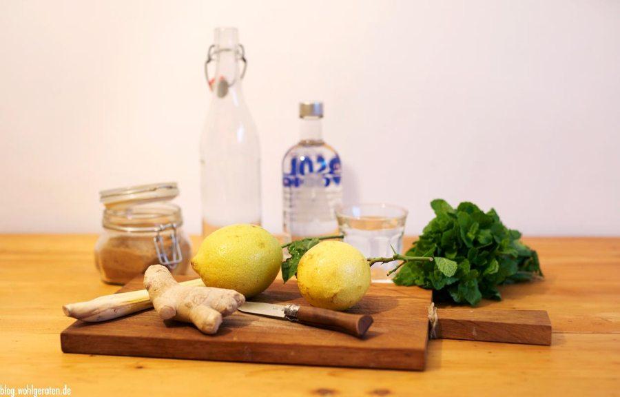 Rezept für Ingwerlikör mit Zitrone