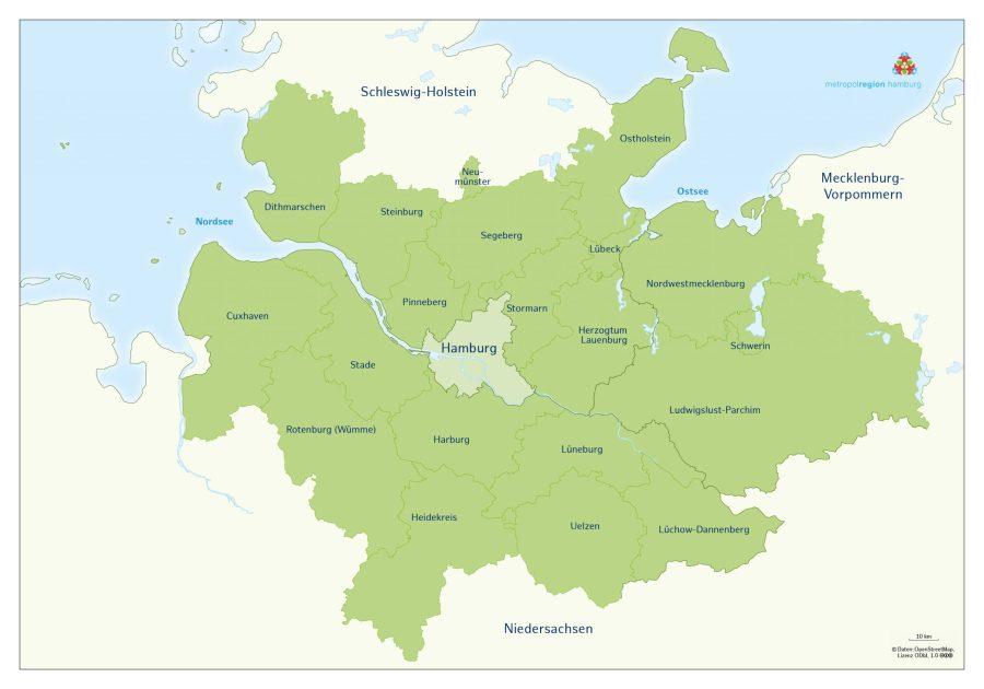 Karte der Metropolregion Hamburg Bild: © Metropolregion Hamburg