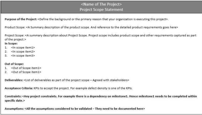 Project Scope Statement Example