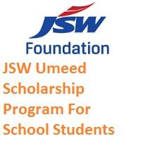 JSW Umeed Scholarship Program For School Students