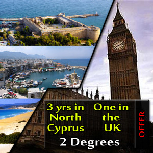 Study 3 years in North Cyprus and 1 year in the UK