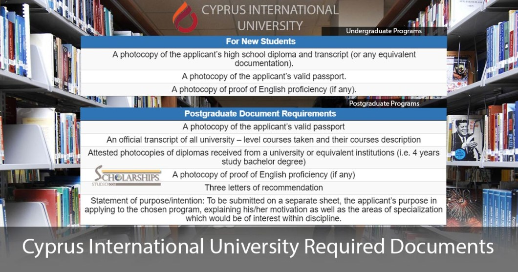 CIU Cyprus International University Required Documents for a Scholarship