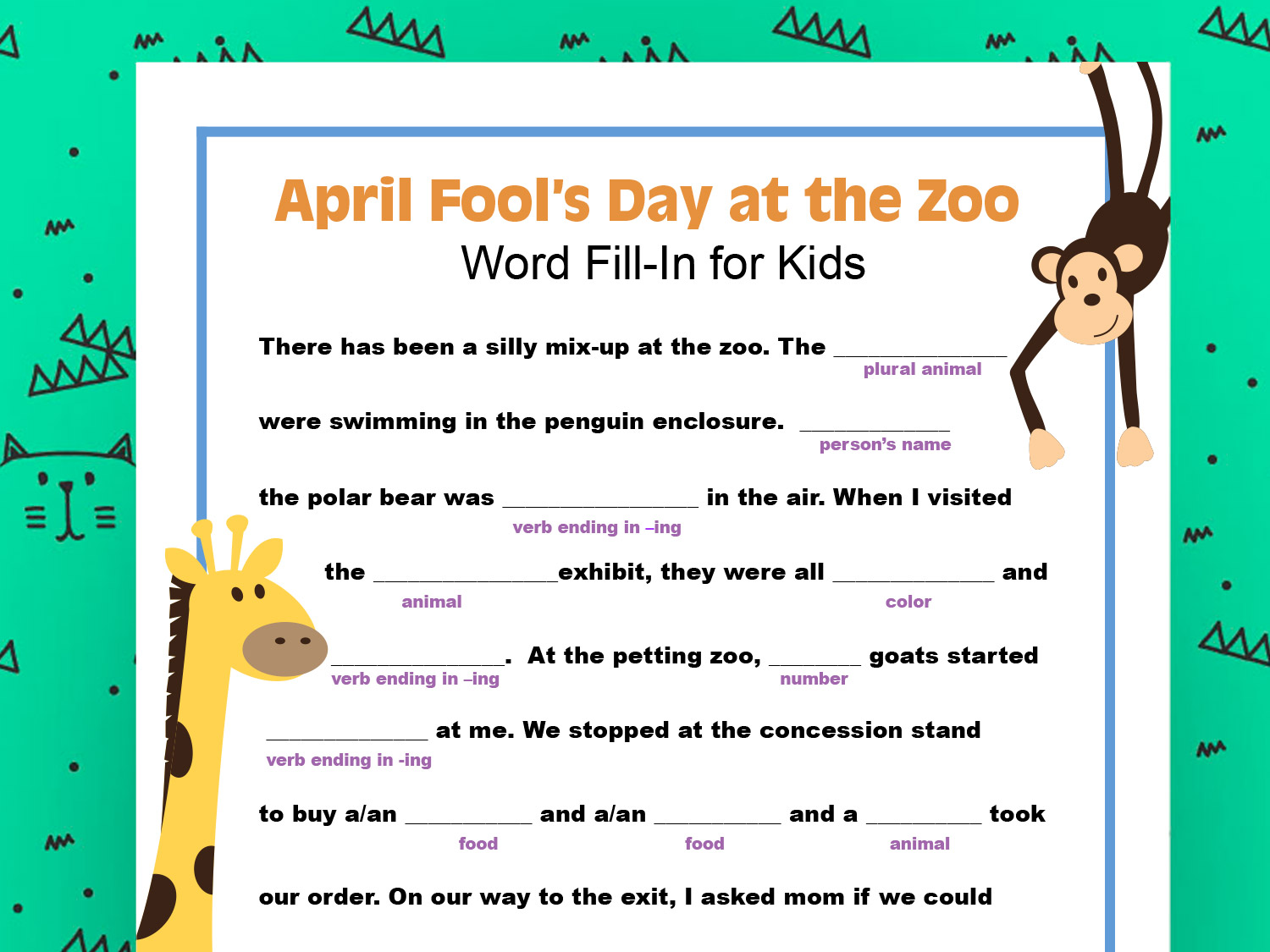 April Fool S Day Word Fill In