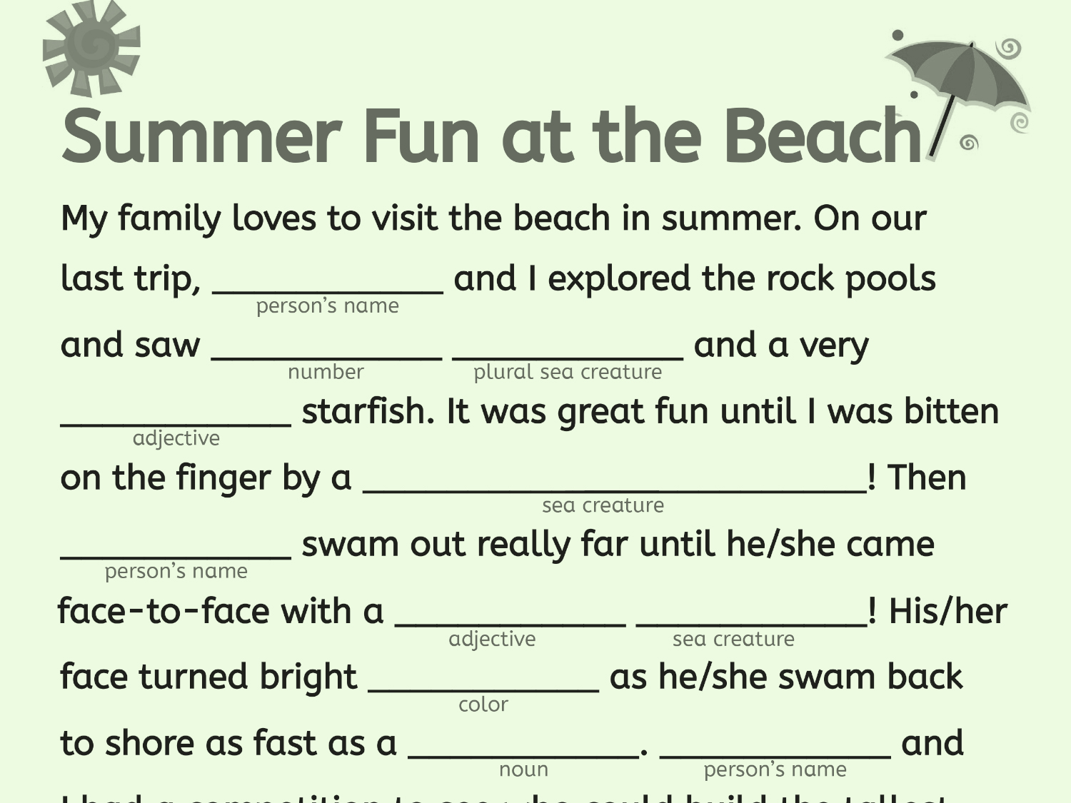 Mad Libs Printable That Are Punchy