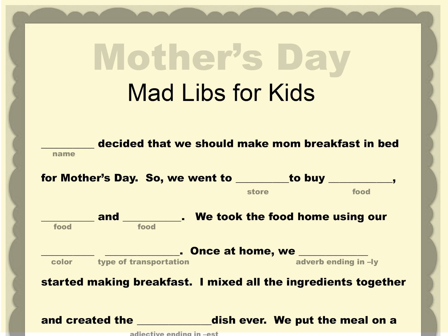 Mother S Day Mad Libs Printable