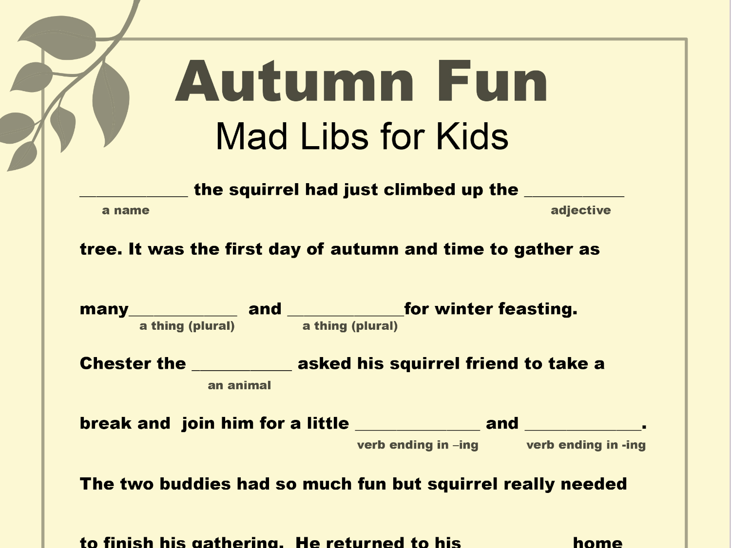 Thanksgiving Mad Libs Worksheet