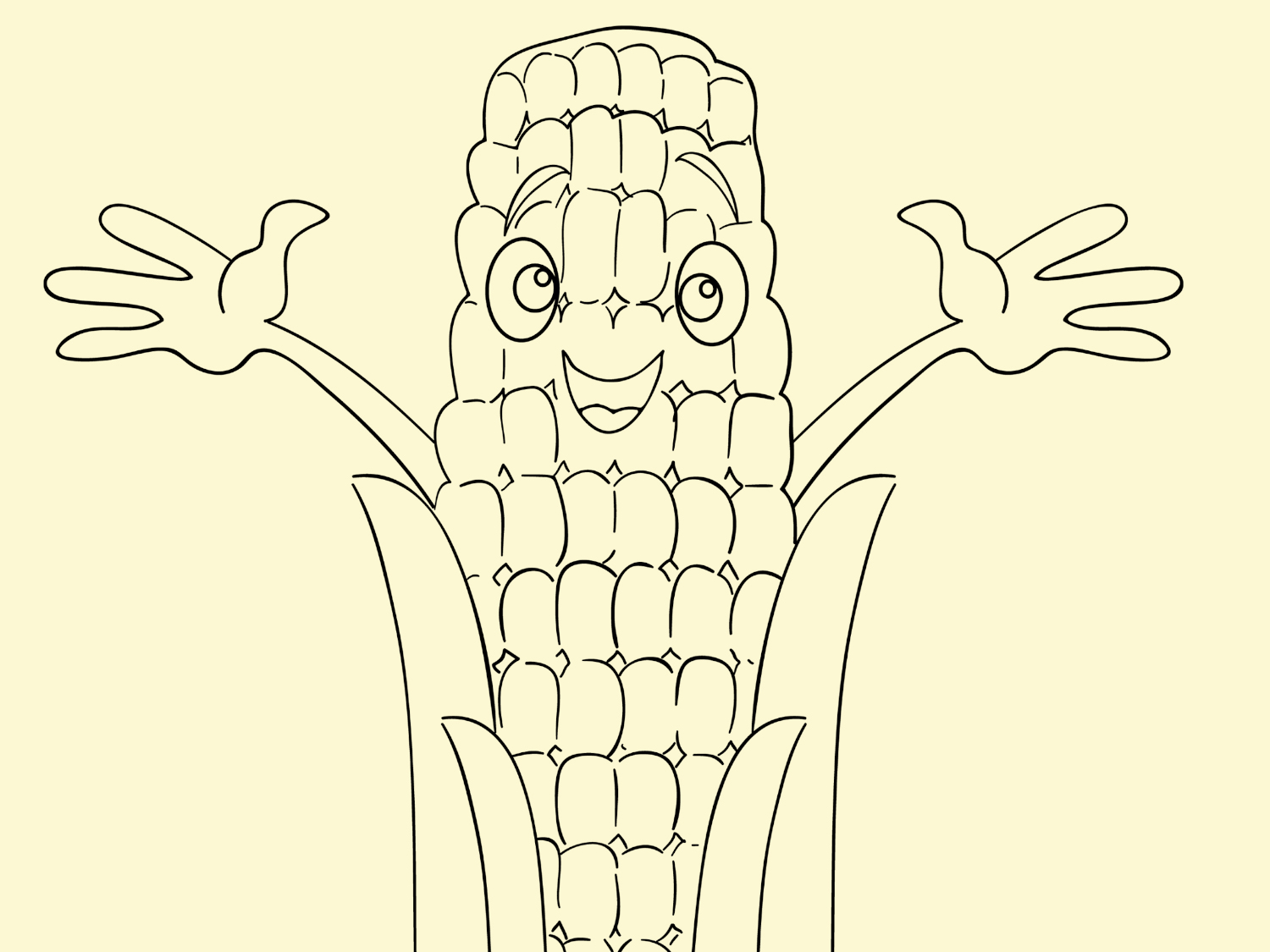 Thanksgiving Printable Coloring Page Harvest Corn