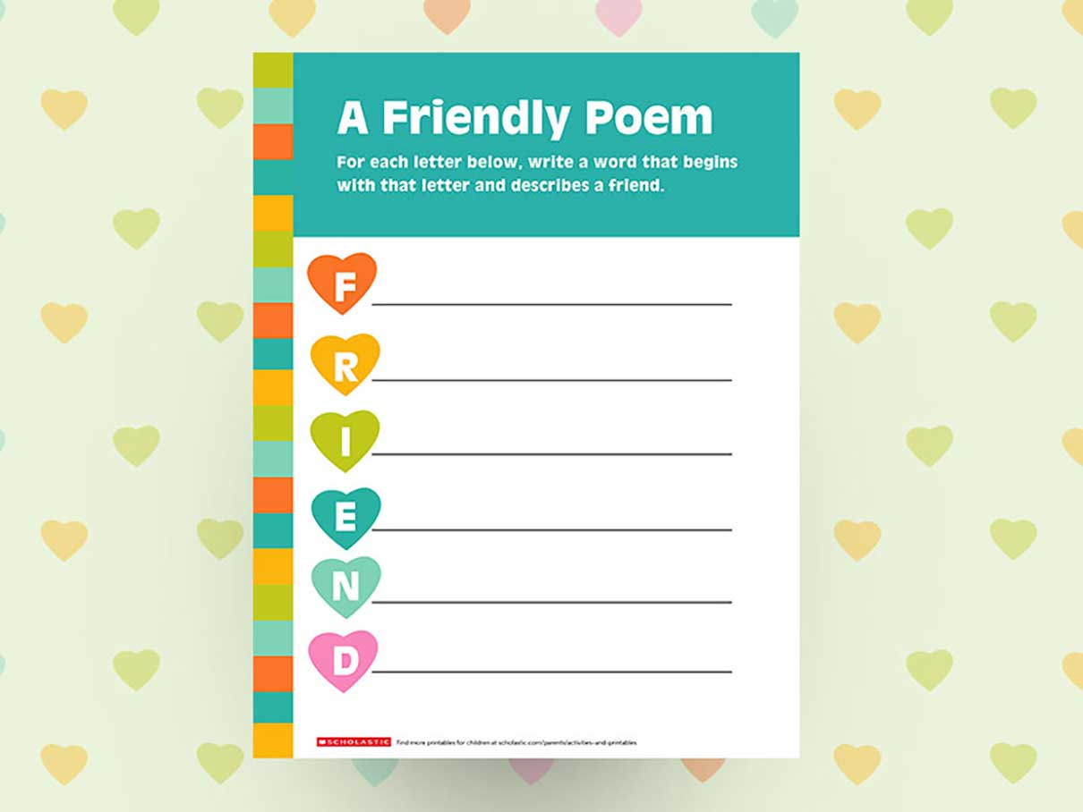Create A Friendship Poem Printable