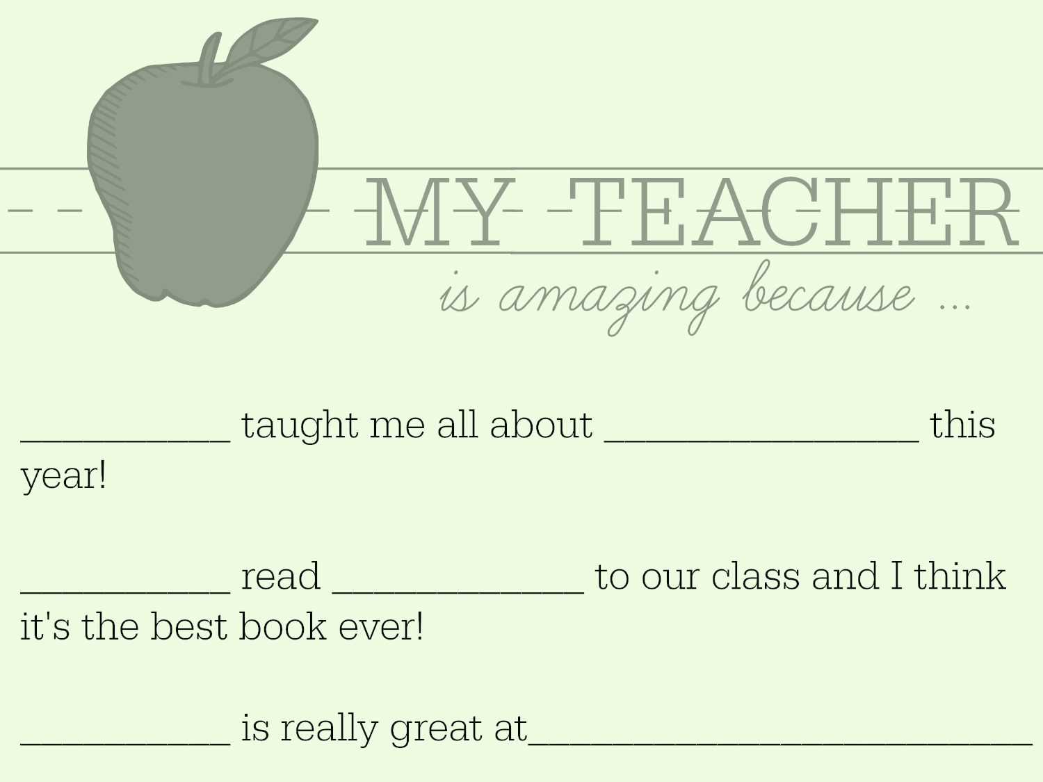Teacher Appreciation Week Letter Idea