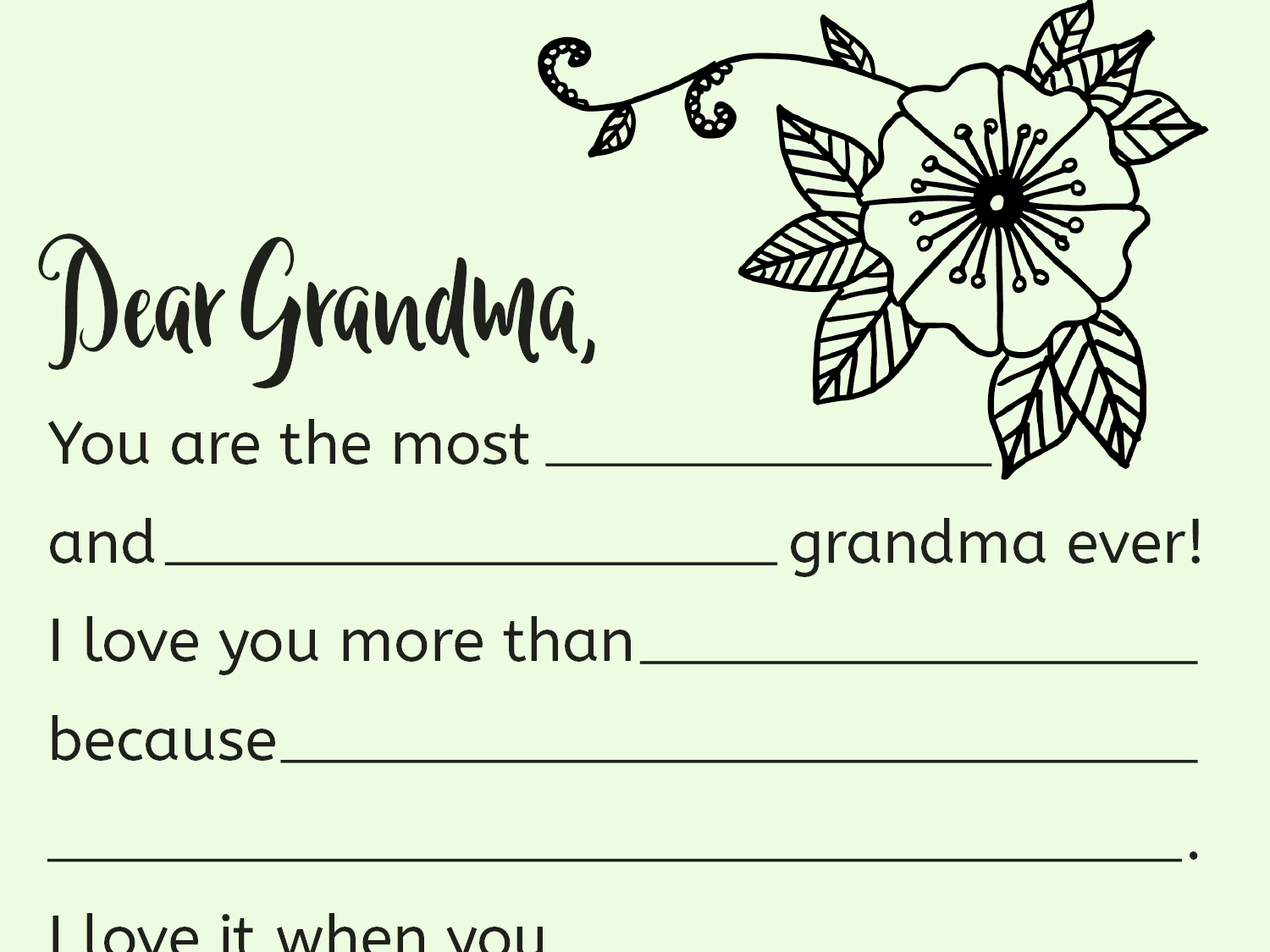 A Printable Fill In Letter For Grandma