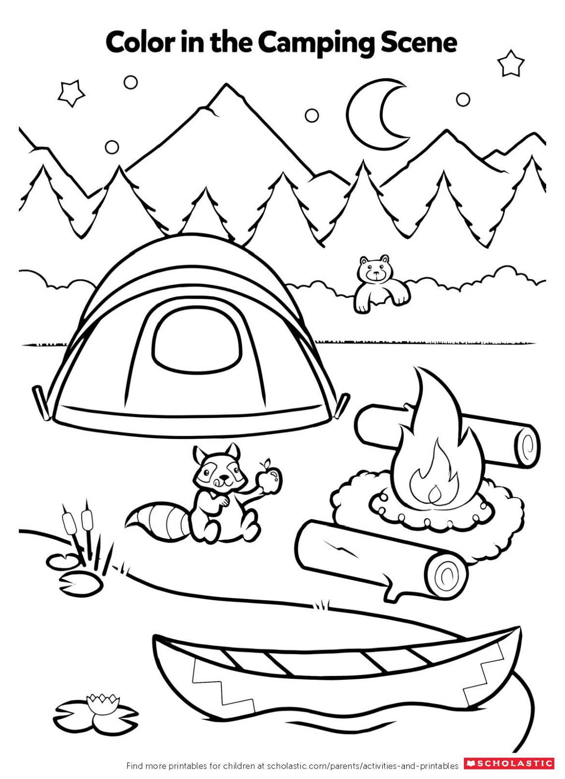 Campfire Coloring Activity | Worksheets & Printables ... | colouring worksheets for preschoolers