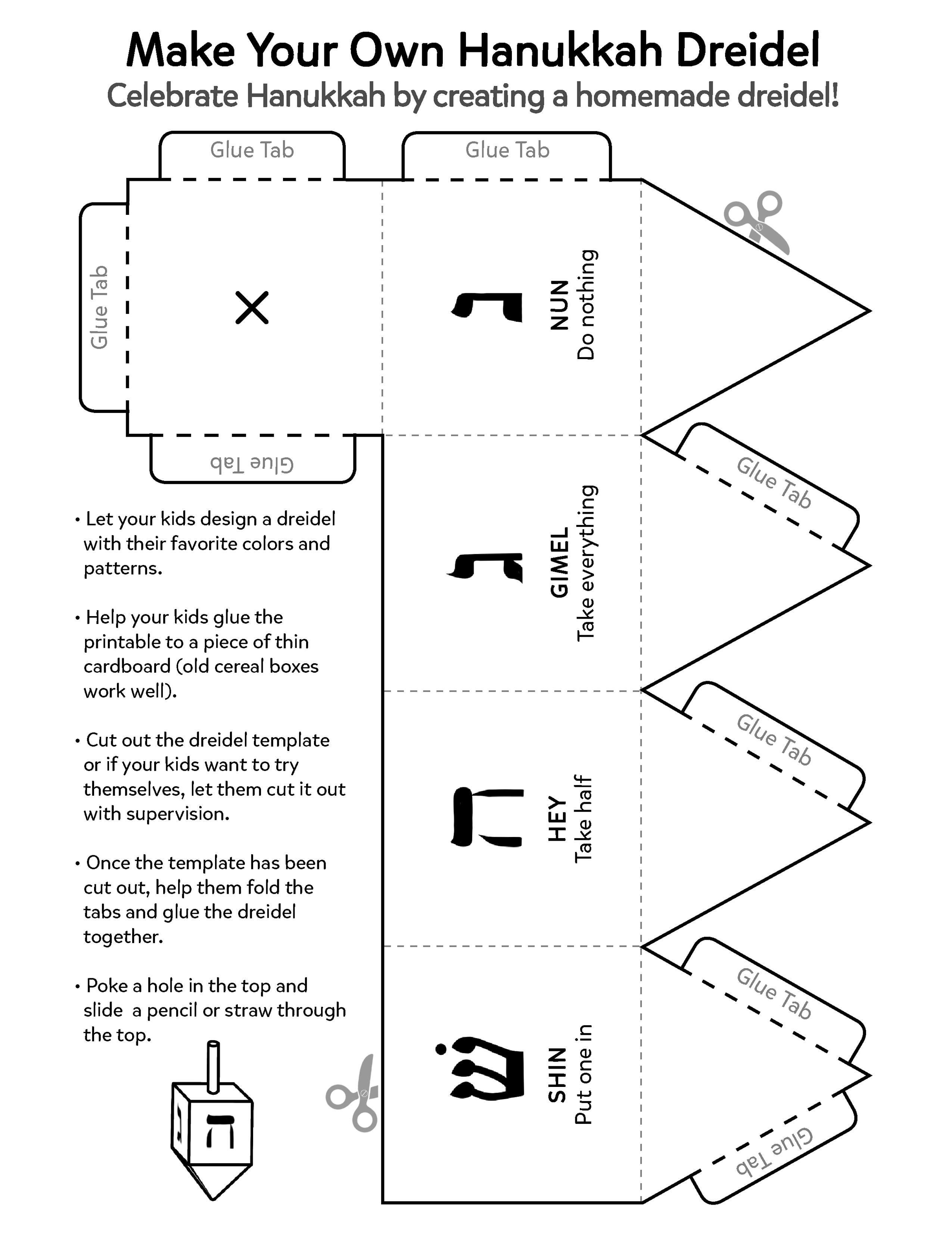 Construct A Paper Dreidel For Hanukkah