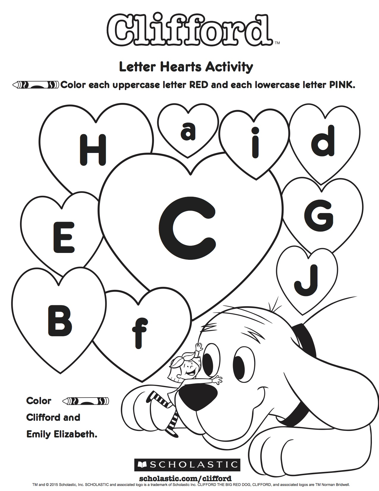 Clifford S Letter Hearts Activity