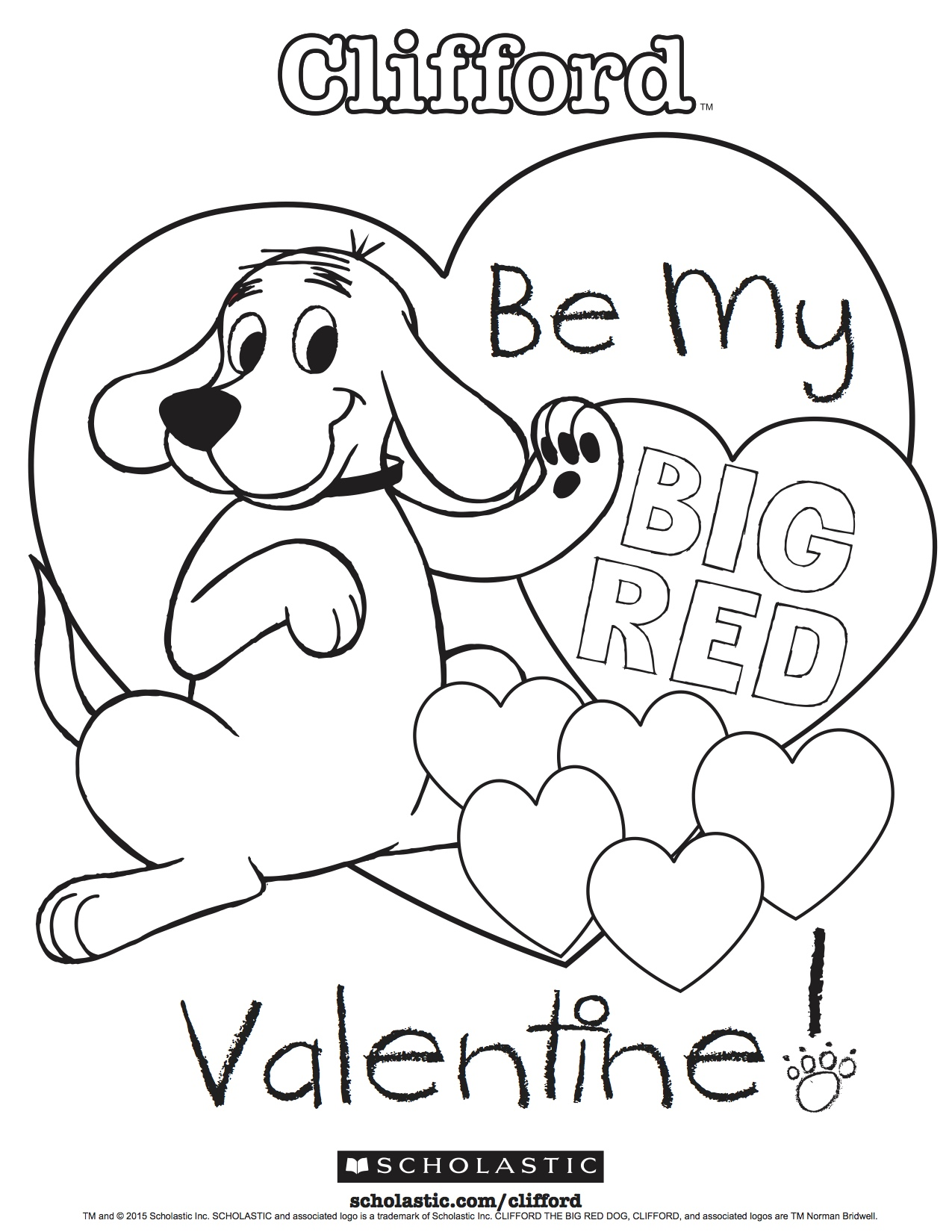 Clifford S My Big Red Valentine Coloring Sheet
