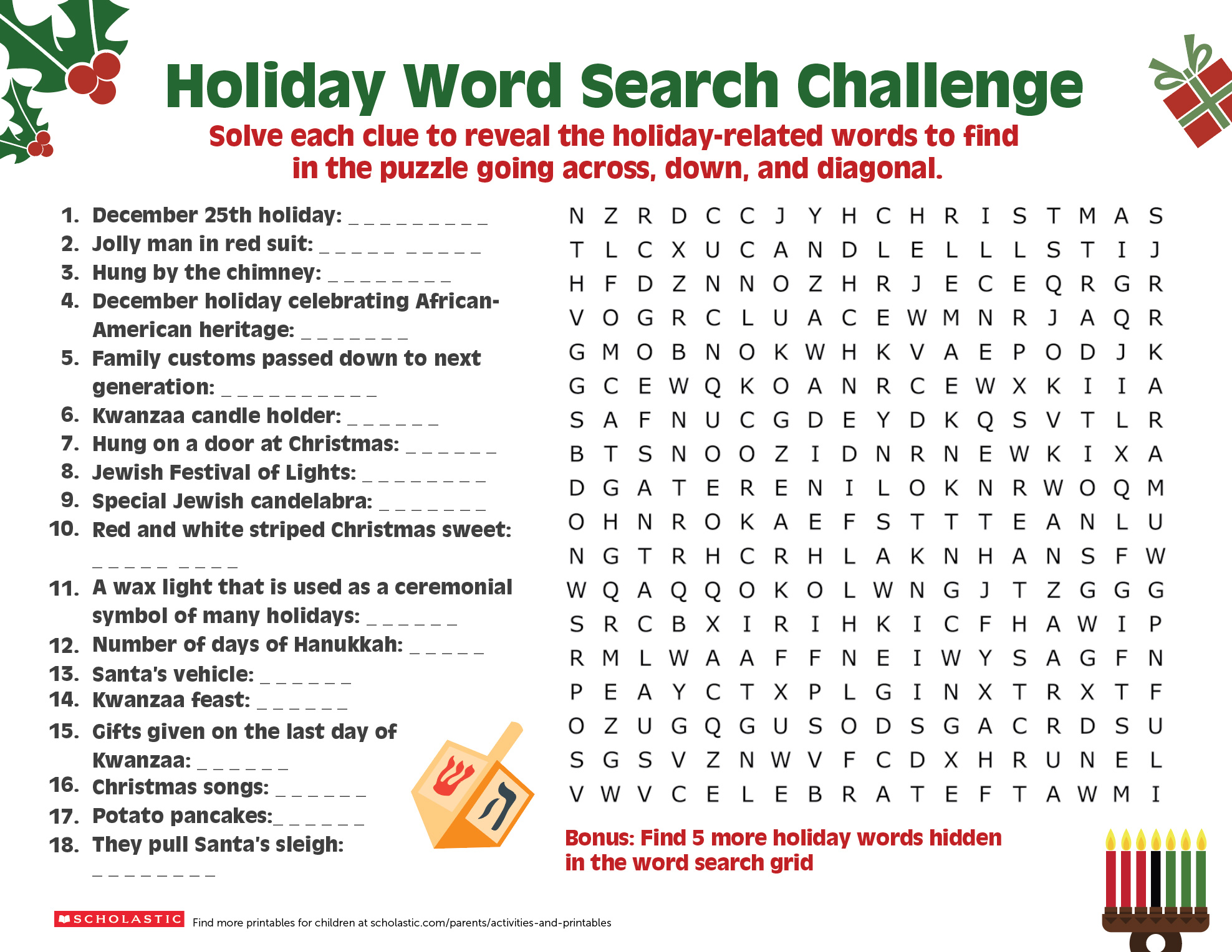 A Happy Holiday Word Search