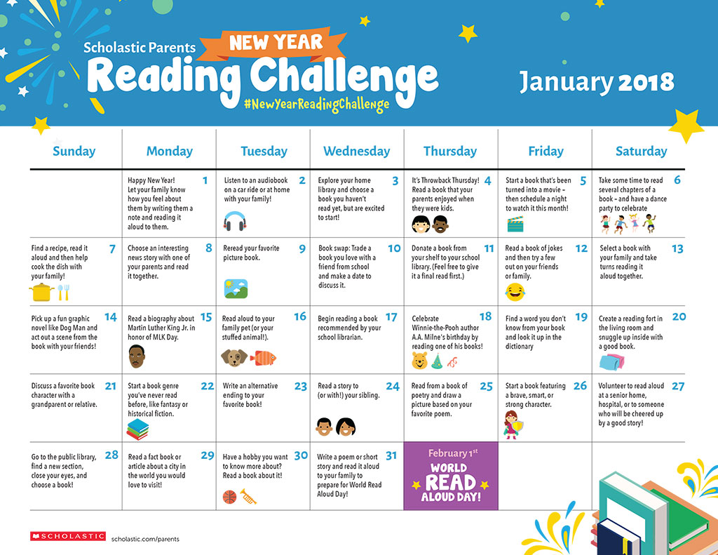 Scholastic Parents New Year Reading Challenge Printable