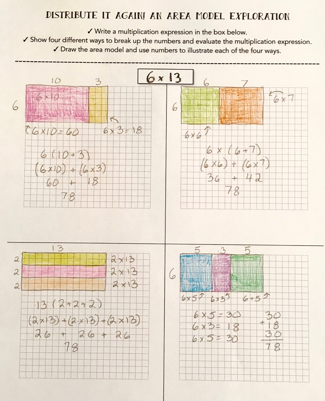 Distributive Property With Arrays 3rd Grade
