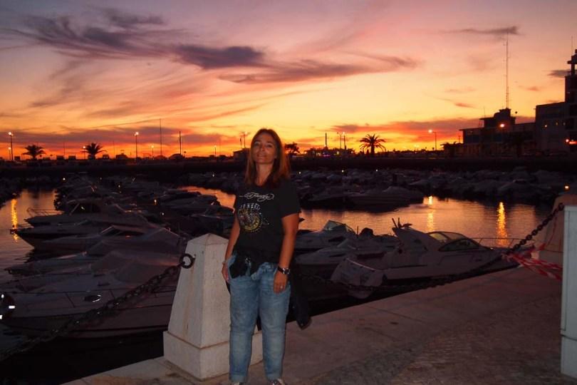 Portugal Algarve: Sonnenuntergang in Faro am Hafen