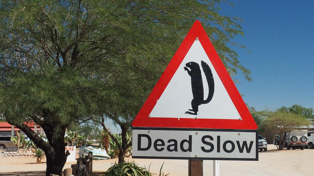 Hinweisschild auf Erdmännchen bei Solitaire in Namibia