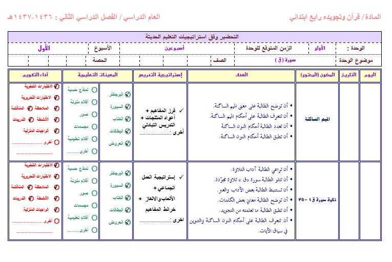 تحضير مادة القران الكريم الرابع الابتدائي الفصل الاول 1438 هـ 1474804745361.png