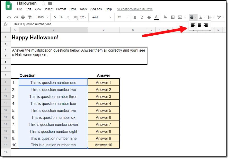 Halloween Fun for Students with Google Sheets | Schooled in Tech