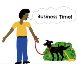 Cartoon illustration with owner giving the command for the dog to go potty.