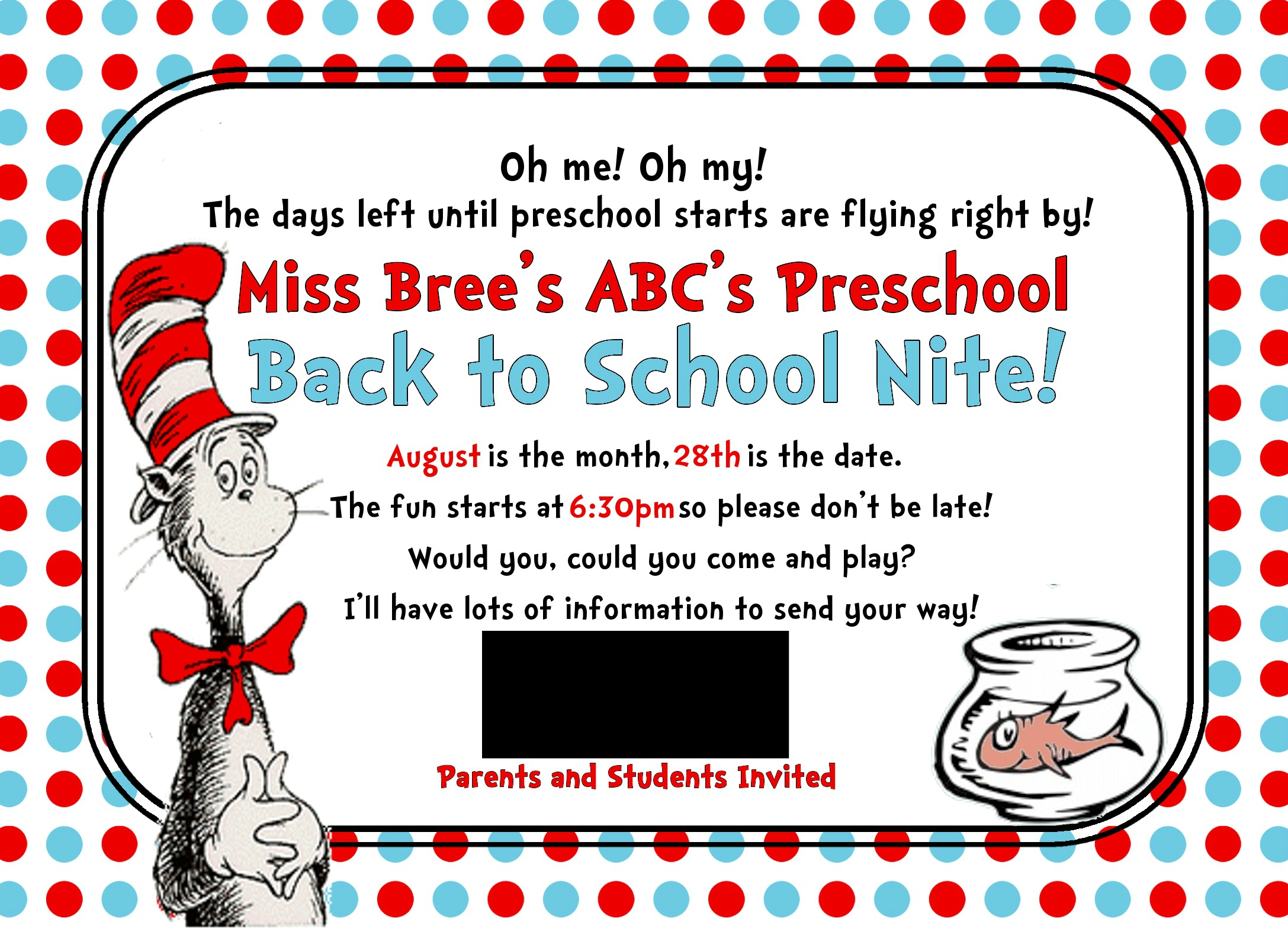S Wetsel Seuss Preschool Invite