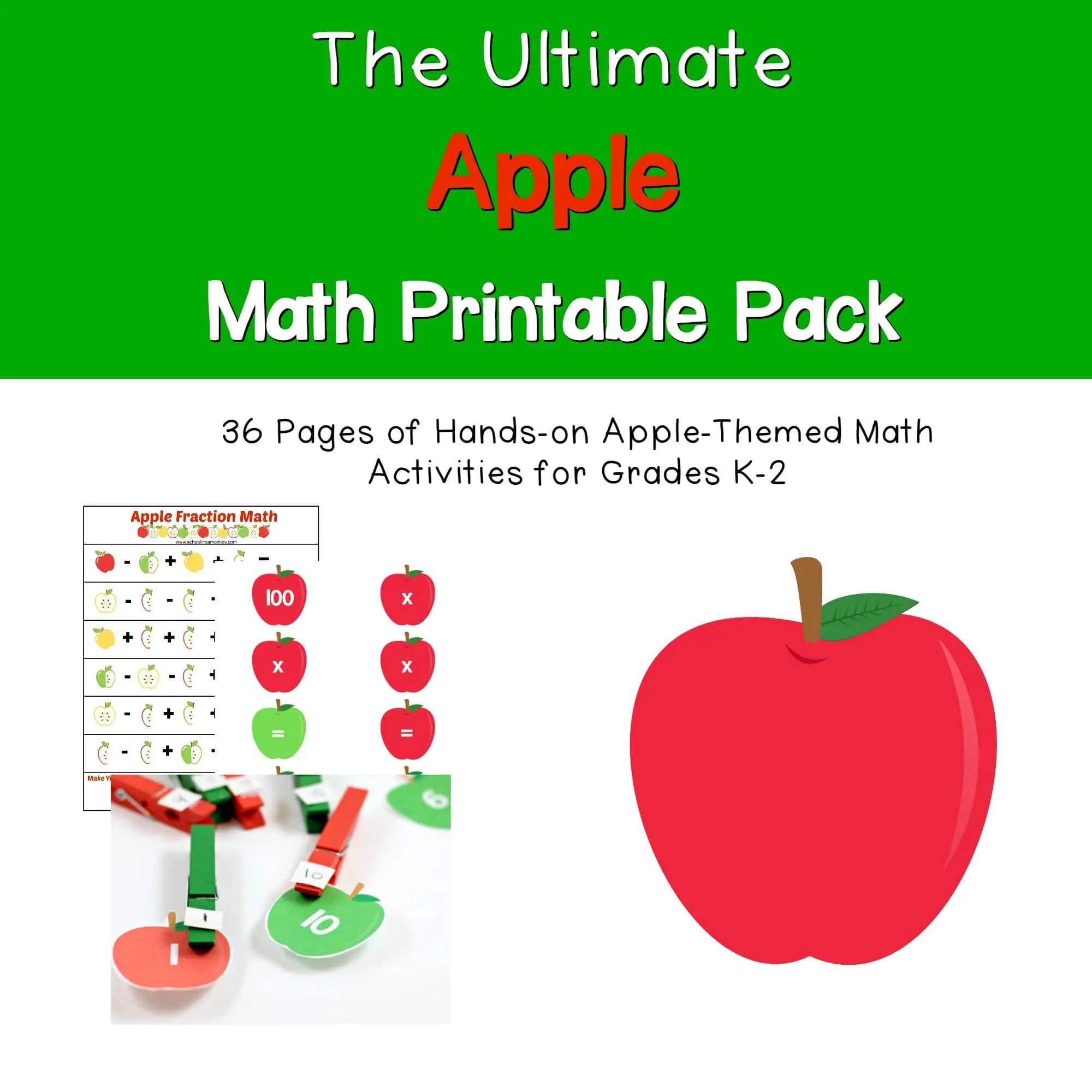 Apple Themed Math Printables Pack
