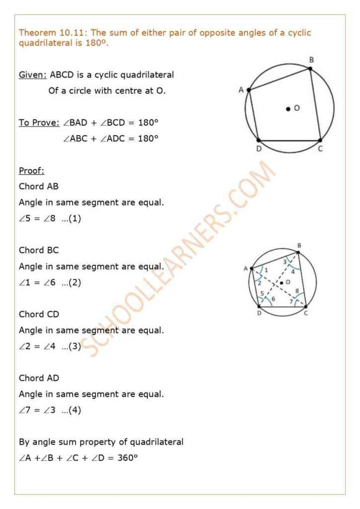 Class 9 Chapter 10 Circles Theorem 10.11 : The sum of either pair of opposite angles of a cyclic quadrilateral is 180º.
