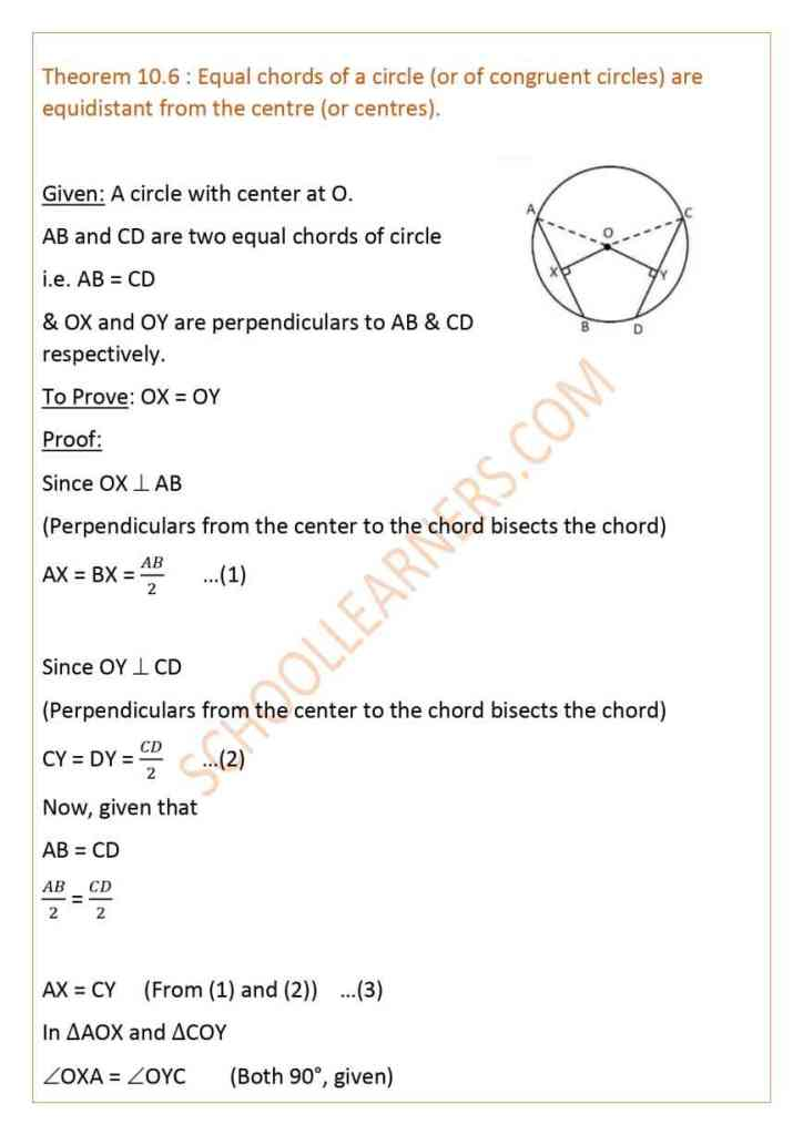 Class 9 Chapter 10 Circles Theorem 10.6 : Equal chords of a circle (or of congruent circles) are equidistant from the centre (or centres).