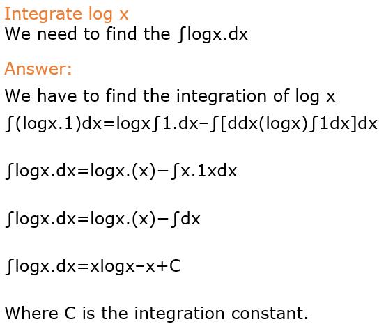integration of log x