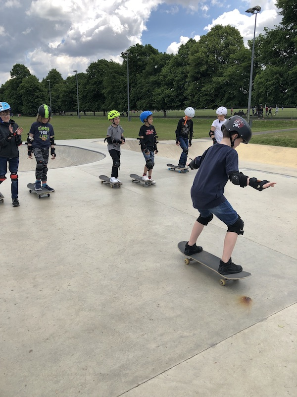 Learning to ride skateboard