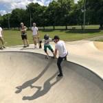 Dropping in on skateboard