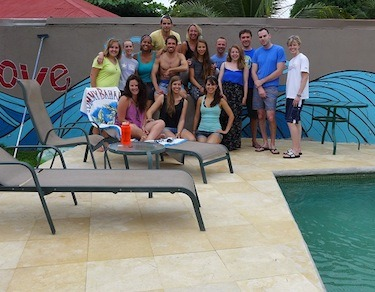 students on pool deck