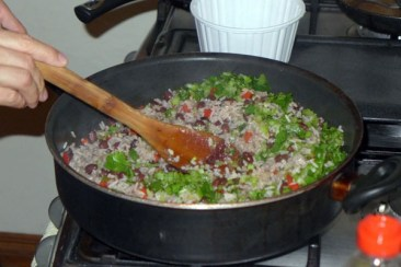 Cooking Gallo Pinto at Spanish school in Costa Rica