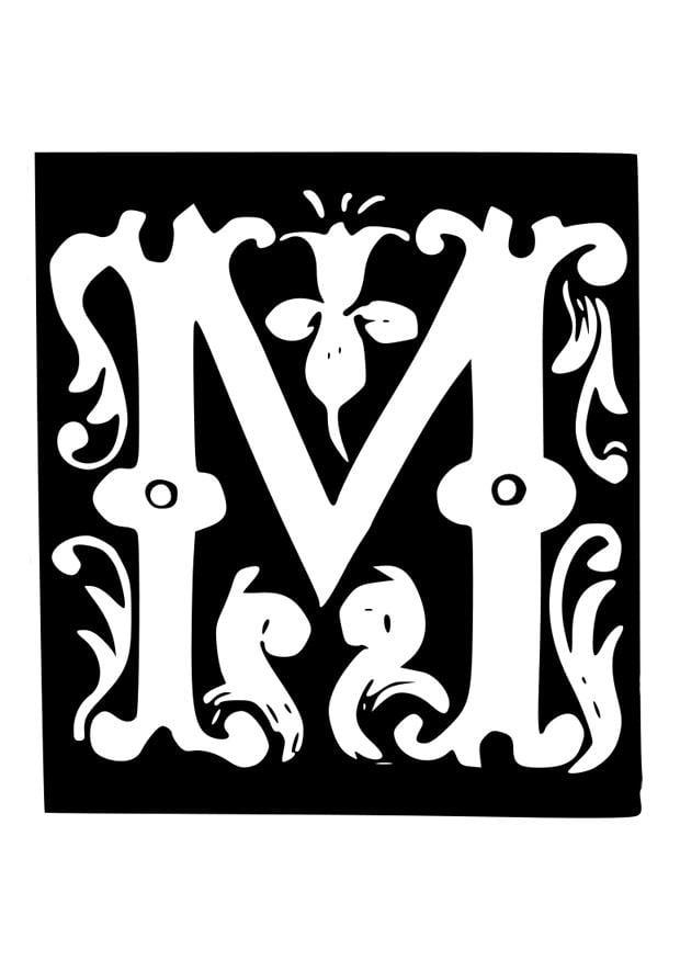Kleurplaat Decoratieve Letter M Afb 19030