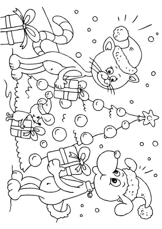 Kleurplaat Kerst Voor Dieren Afb 23373