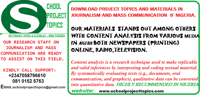 MASS COMMUNICATION PROJECT TOPICS AND MATERIALS