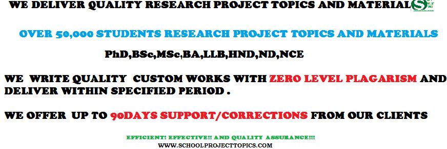 project topics and materials
