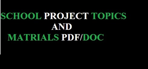 SCHOOL PROJECT TOPICS AND MATERIALS PDF AND DOC