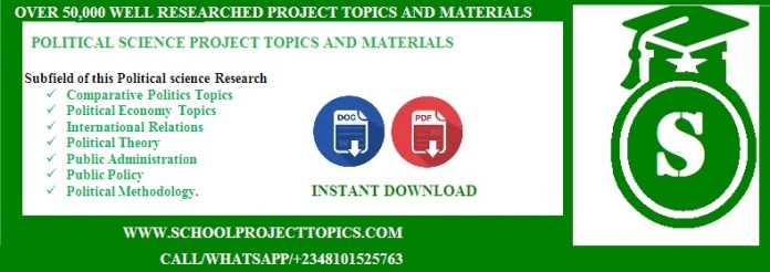 POLITICAL SCIENCE PROJECT TOPICS AND MATERIALS