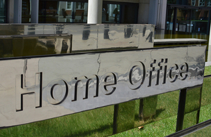A picture of a sign at the Home Office