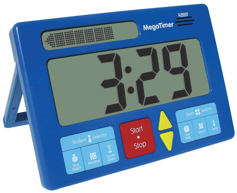 Picture of a bright blue timer with big colorful buttons and large numbers
