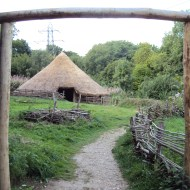 Replica Iron Age roundhouse at the Chiltern Open Air Museum.