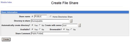 Create a New Samba Share