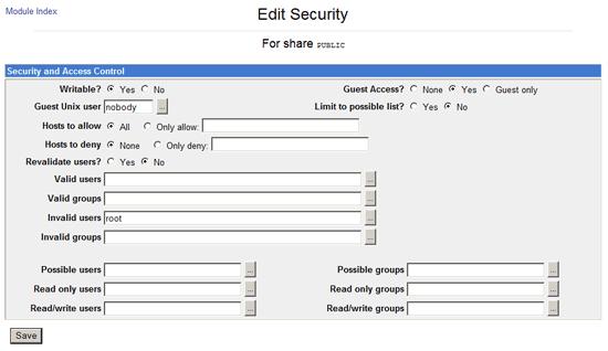 Samba Share Security