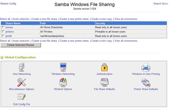 Samba Webmin Configuration