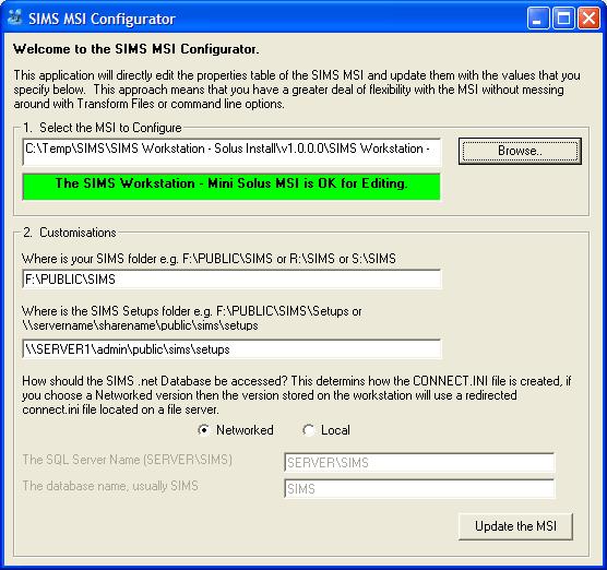 SIMS Configurator Screen Shot