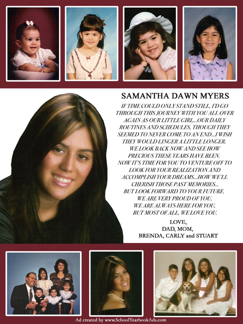 examples of senior yearbook ads from parents