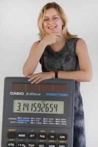 Marjolein met rekenmachine